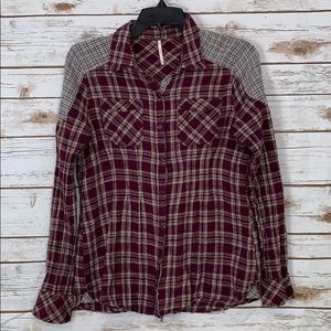 Free People Plaid Button Up Shirt Long Sleeve XS
